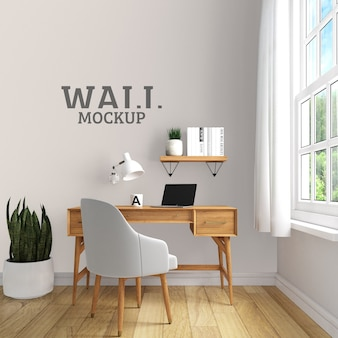 Espaço de estudo com maquete de parede em estilo moderno