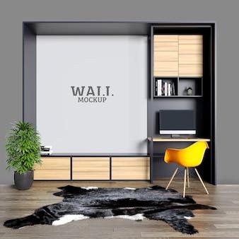 Espaço de estudo com mesas de ferro e prateleiras com maquete de parede