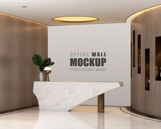 Espaço de recepção com maquete de parede de design moderno