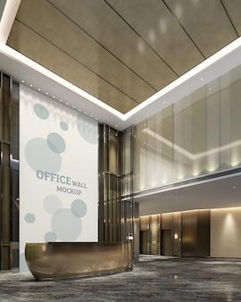 Espaço de recepção projetado em uma luxuosa maquete de parede de estilo moderno