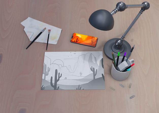 Espaço de trabalho com ferramentas nele