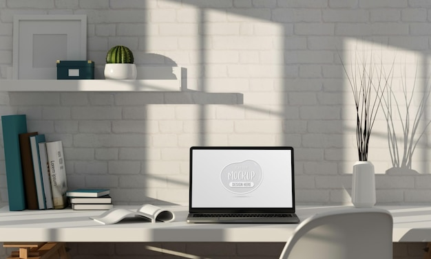 Espaço de trabalho de renderização 3d em home office