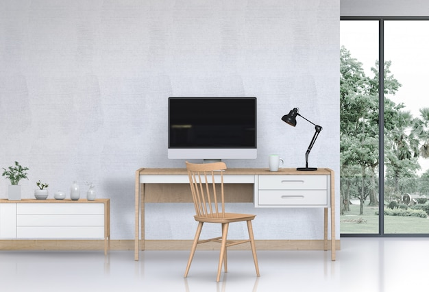 Espaço de trabalho de sala de estar moderna interior com mesa, computador de mesa