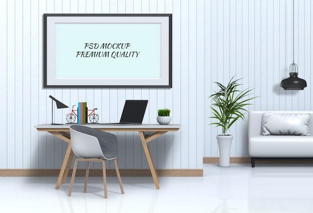 Espaço de trabalho de sala interior com computador portátil e cartaz em branco de maquete