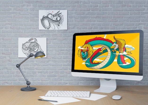 Espaço de trabalho em casa em ambiente interno com monitor