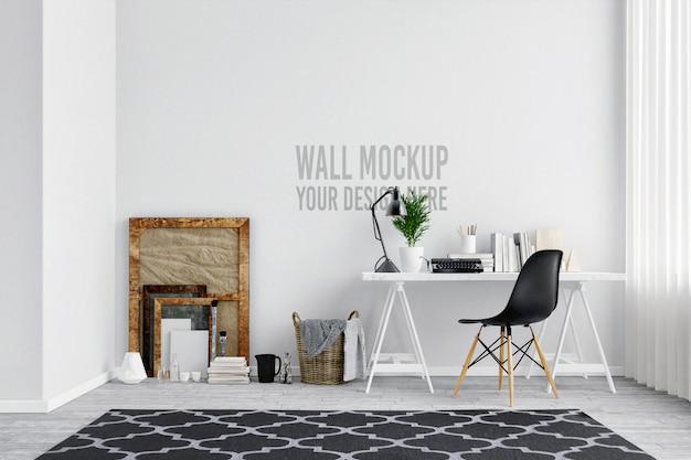 Espaço de trabalho interior de maquete de parede branca linda com decoração em estilo escandinavo