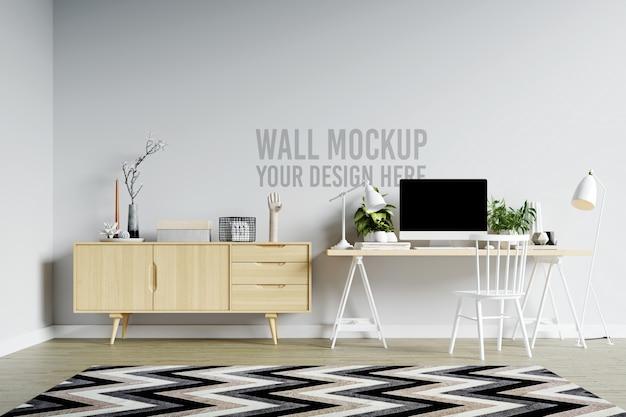 Espaço de trabalho interior de maquete de parede branca linda em estilo escandinavo minimalista