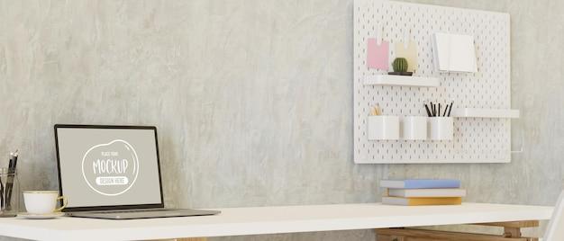 Espaço de trabalho mínimo com laptop, artigos de papelaria na mesa e prateleira na parede do loft, espaço de cópia, renderização 3d, ilustração 3d