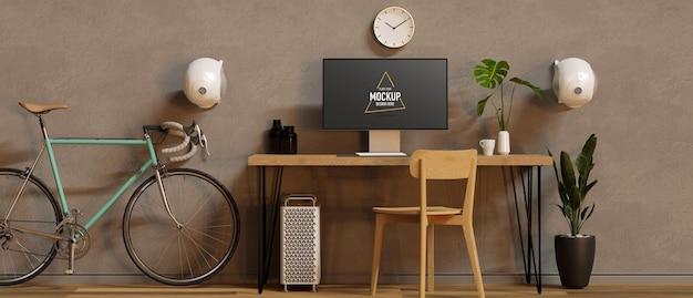 Espaço de trabalho moderno com decoração de mesa de computador, cadeira e bicicleta decorada na sala