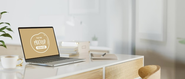 Espaço de trabalho moderno com simulação de computador laptop, renderização 3d, ilustração 3d