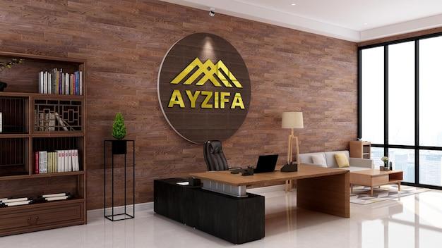 Espaço de trabalho rústico elegante com modelo de parede 3d com logotipo dourado