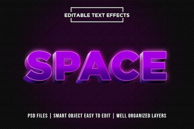 Espaço efeito de texto 3d