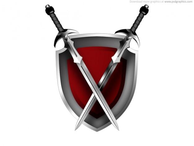 Espadas e ícone de escudo