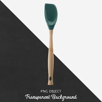 Espátula de silicone verde escuro com cabo de madeira