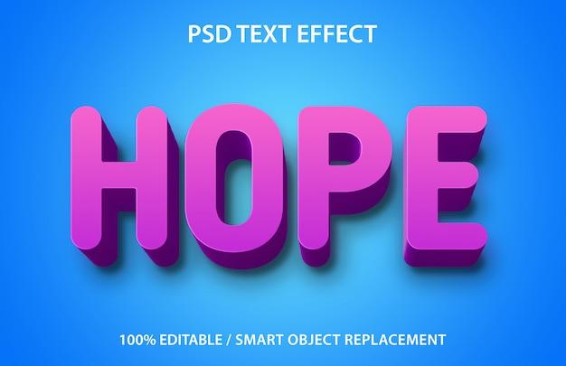 Esperança de efeito de texto editável