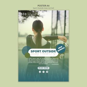 Esporte fora design de modelo de cartaz