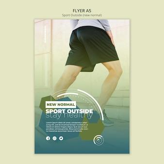 Esporte fora design de modelo de folheto
