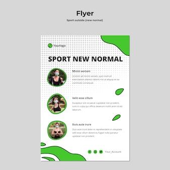 Esporte fora modelo de panfleto com foto