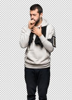 Esporte homem está sofrendo com tosse e se sentindo mal