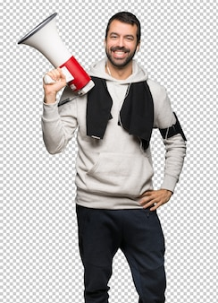 Esporte homem segurando um megafone