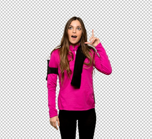 Esporte jovem mulher pensando uma idéia apontando o dedo para cima