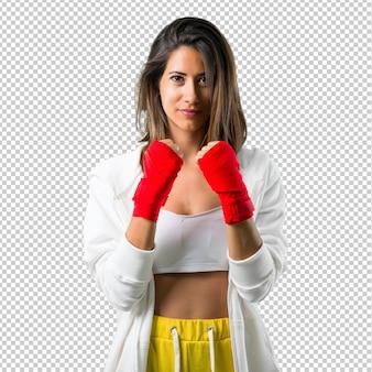 Esporte mulher com ataduras de boxe