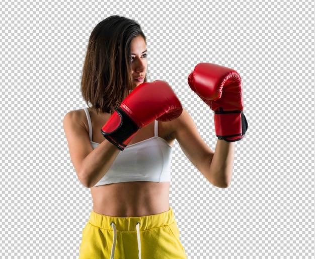 Esporte mulher com luvas de boxe