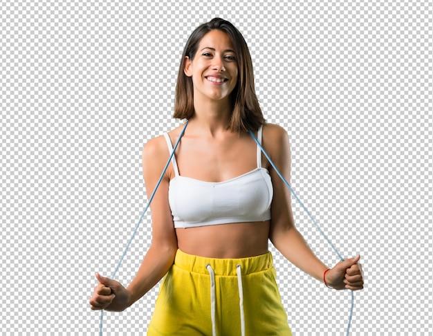 Esporte mulher com pular corda