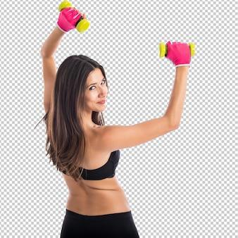 Esporte mulher fazendo halterofilismo