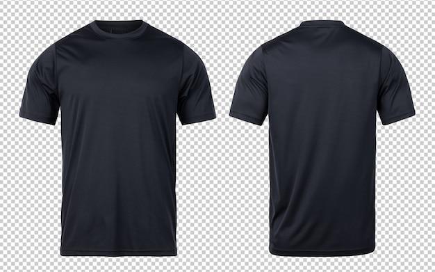 Esporte preto t-shirts frente e verso modelo mock-up para seu projeto.