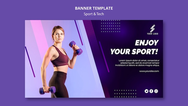 Esportes e tecnologia modelo de banner com foto