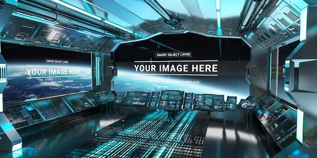 Estação de painel de controle da nave espacial escuro e azul mockup