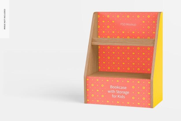 Estante de livros com maquete de armazenamento para crianças