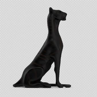 Estátua de animais 3d isolado render