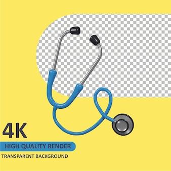 Estetoscópio da frente dos desenhos animados, renderização em 3d