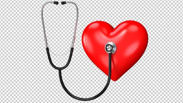 Estetoscópio preto com coração vermelho