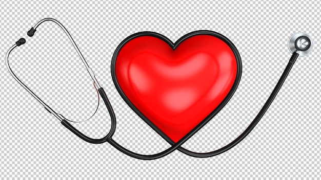 Estetoscópio preto em forma de coração com o símbolo do coração vermelho