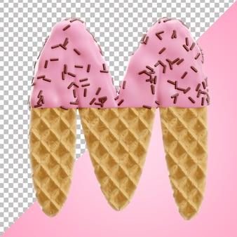 Estilo 3d da letra m waffle do alfabeto com granulado de chocolate em estilo 3d isolado