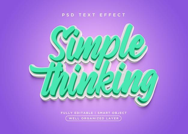 Estilo 3d simples, efeito de texto pensado