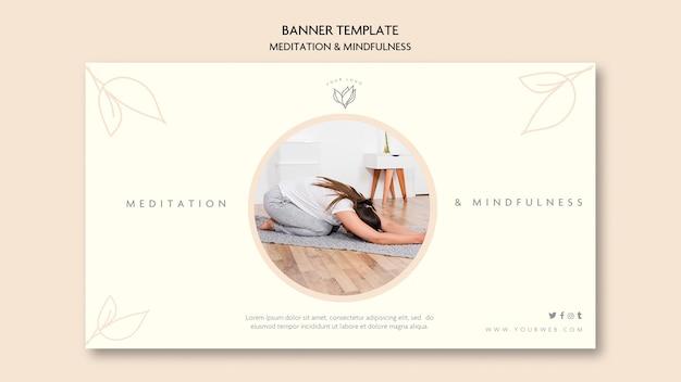 Estilo de banner de meditação e atenção