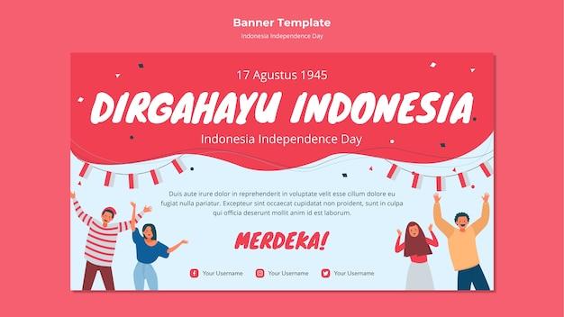 Estilo de banner do dia da independência da indonésia