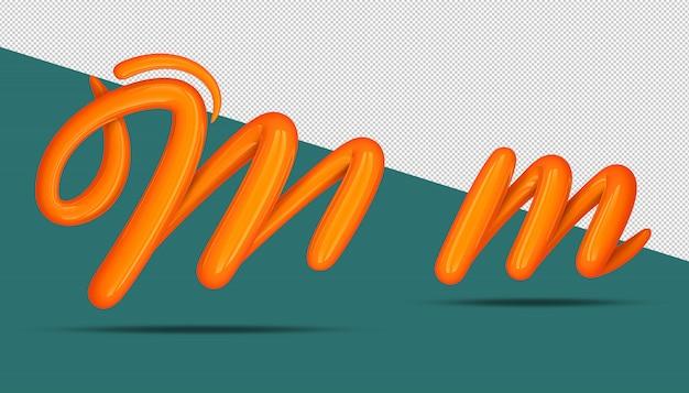 Estilo de caligrafia do alfabeto 3d m
