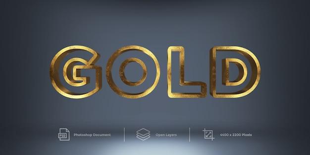 Estilo de camada de design de efeito de texto dourado
