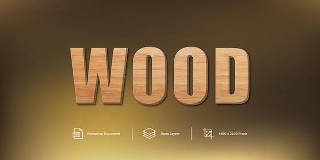 Estilo de camada de design de efeito de texto em madeira