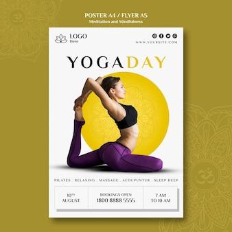 Estilo de cartaz de meditação e atenção plena Psd grátis