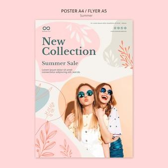 Estilo de cartaz de venda coleção de verão