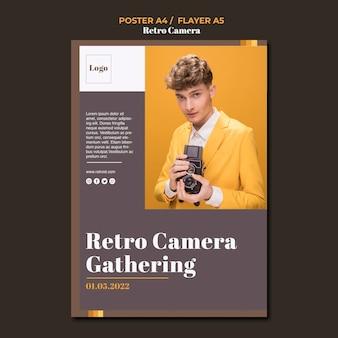 Estilo de cartaz retro conceito câmera