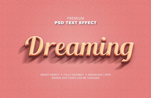 Estilo de efeito 3d retro vintage texto rosa