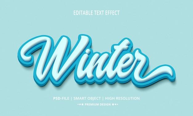 Estilo de efeito de texto 3d criativo de inverno