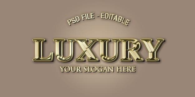 Estilo de efeito de texto 3d de luxo em ouro